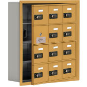 Cell Phone Locker with Access Panel 19145-12GRC - Recessed Mounted, Combo Locks, 12 A Doors, Gold