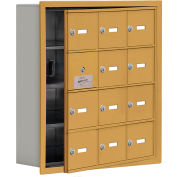 Cell Phone Locker with Access Panel 19145-12GRK - Recessed Mounted, Keyed Locks, 12 A Doors, Gold