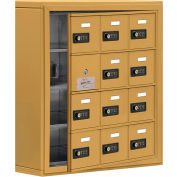 Cell Phone Locker with Access Panel 19145-12GSC - Surface Mounted, Combo Locks, 12 A Doors, Gold