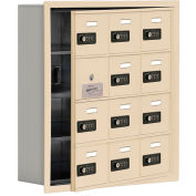 Cell Phone Locker with Access Panel 19145-12SRC - Recessed Mounted Combo Locks 12 A Doors, Sandstone