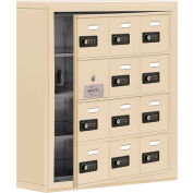 Cell Phone Locker with Access Panel 19145-12SSC - Surface Mounted, Combo Locks 12 A Doors, Sandstone