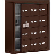 Cell Phone Locker with Access Panel 19145-12ZSK - Surface Mounted, Keyed Locks, 12 A Doors, Bronze