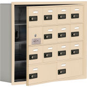 Cell Phone Locker with Access Panel 19145-14SRC - Recessed Mounted Combo Lock 12A&2B Doors Sandstone