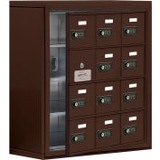 Cell Phone Locker with Access Panel 19148-12ZSC - Surface Mounted, Combo Locks, 12 A Doors, Bronze