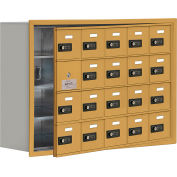 Cell Phone Locker with Access Panel 19148-20GRC - Recessed Mounted, Combo Locks, 20 A Doors, Gold