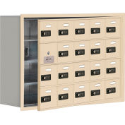 Cell Phone Locker with Access Panel 19148-20SRC - Recessed Mounted Combo Locks 20 A Doors, Sandstone