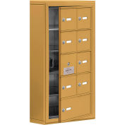 Cell Phone Locker with Access Panel 19155-09GSK - Surface Mounted, Keyed Locks, 8A & 1B Doors, Gold