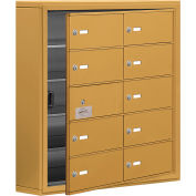 Cell Phone Locker with Access Panel 19155-10GSK - Surface Mounted, Keyed Locks, 10 B Doors, Gold