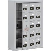 Cell Phone Locker with Access Panel 19155-15ASC - Surface Mounted, Combo Locks, 15 A Doors, Aluminum