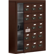 Cell Phone Locker with Access Panel 19155-15ZSC - Surface Mounted, Combo Locks, 15 A Doors, Bronze