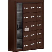 Cell Phone Locker with Access Panel 19155-15ZSK - Surface Mounted, Keyed Locks, 15 A Doors, Bronze