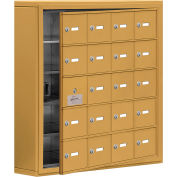 Cell Phone Locker with Access Panel 19155-20GSK - Surface Mounted, Keyed Locks, 20 A Doors, Gold