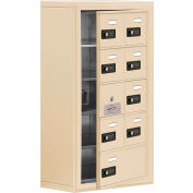 Cell Phone Locker with Access Panel 19158-09SSC - Surface Mounted Combo Locks 8A&1B Doors Sandstone