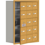 Cell Phone Locker with Access Panel 19158-15GRK - Recessed Mounted, Keyed Locks, 15 A Doors, Gold