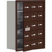 Cell Phone Locker with Access Panel 19158-15ZRK - Recessed Mounted, Keyed Locks, 15 A Doors, Bronze