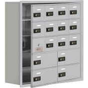 Cell Phone Locker with Access Panel 19158-16ARC - Recessed Mounted Combo Locks 12A&4B Doors Aluminum