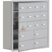 Cell Phone Locker with Access Panel 19158-16ARK - Recessed Mounted Keyed Locks 12A&4B Doors Aluminum