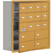 Cell Phone Locker with Access Panel 19158-16GRK - Recessed Mounted Keyed Locks, 12A & 4B Doors, Gold