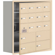Cell Phone Locker with Access Panel 19158-16SRK - Recessed Mounted Keyed Lock 12A&4B Doors Sandstone