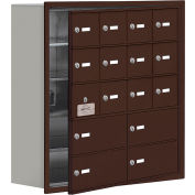 Cell Phone Locker with Access Panel 19158-16ZRK - Recessed Mounted Keyed Locks 12A & 4B Doors Bronze