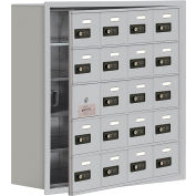 Cell Phone Locker with Access Panel 19158-20ARC - Recessed Mounted, Combo Locks 20 A Doors, Aluminum
