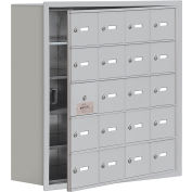 Cell Phone Locker with Access Panel 19158-20ARK - Recessed Mounted Keyed Locks, 20 A Doors, Aluminum