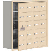 Cell Phone Locker with Access Panel 19158-20SRK - Recessed Mounted Keyed Locks 20 A Doors, Sandstone