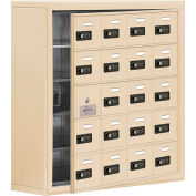 Cell Phone Locker with Access Panel 19158-20SSC - Surface Mounted, Combo Locks 20 A Doors, Sandstone