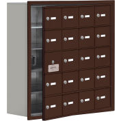 Cell Phone Locker with Access Panel 19158-20ZRK - Recessed Mounted, Keyed Locks, 20 A Doors, Bronze