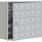 Cell Phone Locker with Access Panel 19158-25ARK - Recessed Mounted Keyed Locks, 25 A Doors, Aluminum