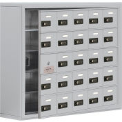 Cell Phone Locker with Access Panel 19158-25ASC - Surface Mounted, Combo Locks, 25 A Doors, Aluminum