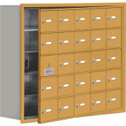 Cell Phone Locker with Access Panel 19158-25GRK - Recessed Mounted, Keyed Locks, 25 A Doors, Gold
