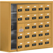 Cell Phone Locker with Access Panel 19158-25GSC - Surface Mounted, Combo Locks, 25 A Doors, Gold