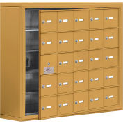 Cell Phone Locker with Access Panel 19158-25GSK - Surface Mounted, Keyed Locks, 25 A Doors, Gold