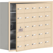 Cell Phone Locker with Access Panel 19158-25SRK - Recessed Mounted Keyed Locks 25 A Doors, Sandstone