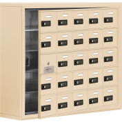 Cell Phone Locker with Access Panel 19158-25SSC - Surface Mounted, Combo Locks 25 A Doors, Sandstone