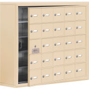 Cell Phone Locker with Access Panel 19158-25SSK - Surface Mounted Keyed Locks, 25 A Doors, Sandstone