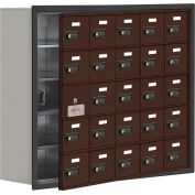 Cell Phone Locker with Access Panel 19158-25ZRC - Recessed Mounted, Combo Locks, 25 A Doors, Bronze