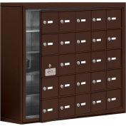 Cell Phone Locker with Access Panel 19158-25ZSK - Surface Mounted, Keyed Locks, 25 A Doors, Bronze