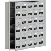 Cell Phone Locker with Access Panel 19165-30ARC - Recessed Mounted, Combo Locks 30 A Doors, Aluminum