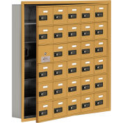 Cell Phone Locker with Access Panel 19165-30GRC - Recessed Mounted, Combo Locks, 30 A Doors, Gold