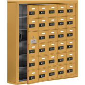 Cell Phone Locker with Access Panel 19165-30GSC - Surface Mounted, Combo Locks, 30 A Doors, Gold