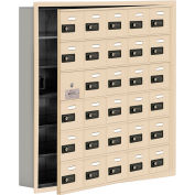 Cell Phone Locker with Access Panel 19165-30SRC - Recessed Mounted Combo Locks 30 A Doors, Sandstone