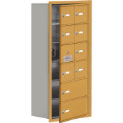 Cell Phone Locker with Access Panel 19168-10GRK - Recessed Mounted, Keyed Locks, 8A & 2B Doors, Gold