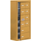 Cell Phone Locker with Access Panel 19168-10GSK - Surface Mounted, Keyed Locks, 8A & 2B Doors, Gold