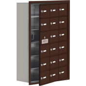 Cell Phone Locker with Access Panel 19168-18ZRK - Recessed Mounted, Keyed Locks, 18 A Doors, Bronze