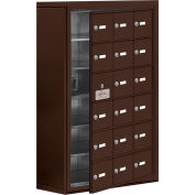Cell Phone Locker with Access Panel 19168-18ZSK - Surface Mounted, Keyed Locks, 18 A Doors, Bronze