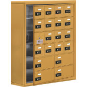 Cell Phone Locker with Access Panel 19168-20GSC - Surface Mounted, Combo Locks, 16A & 4B Doors, Gold