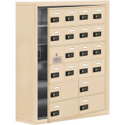 Cell Phone Locker with Access Panel 19168-20SSC - Surface Mounted Combo Locks 16A&4B Doors Sandstone