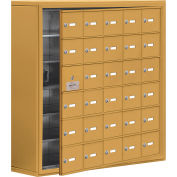 Cell Phone Locker with Access Panel 19168-30GSK - Surface Mounted, Keyed Locks, 30 A Doors, Gold